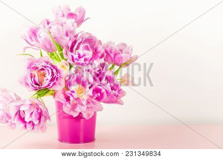 Beautiful Bunch Of Peony Style Tulips On The Pink Pot