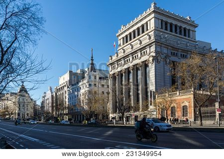 Madrid, Spain - January 21, 2018: Building Of Cervantes Institute At Alcala Street In City Of Madrid