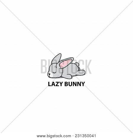Lazy Bunny, Cute Gray Rabbit Sleeping Icon, Logo Design, Vector Illustration