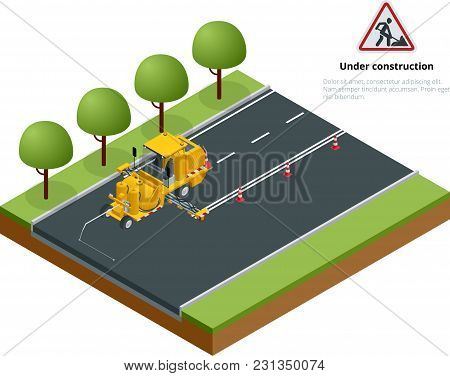 Isometric Pavement Asphalt Road Marking Paint And Striping With Thermoplastic Spray Applicator Machi