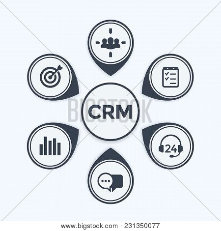 Crm, Customer Relationship Management Infographics Template, Eps 10 File, Easy To Edit