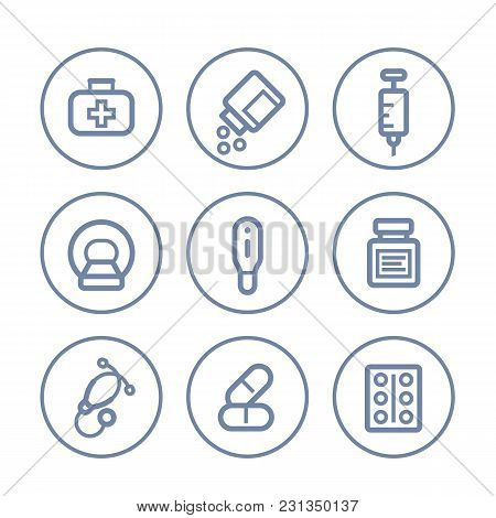 Healthcare, Medical Icons On White, Linear Style, Eps 10 File, Easy To Edit