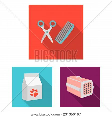 An Animal Cat Flat Icons In Set Collection For Design. Caring For A Cat Vector Symbol Stock  Illustr