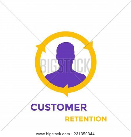 Returning Customer And Client Retention Icon, Eps 10 File, Easy To Edit