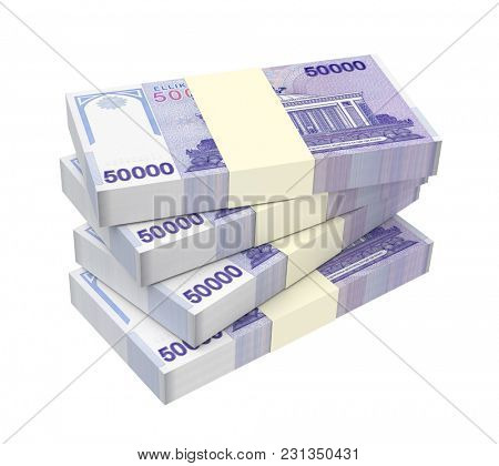 Uzbekistan sums bills isolated on white with clipping path. 3D illustration.