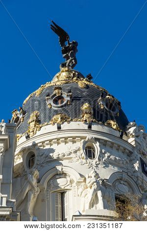 Madrid, Spain - January 21, 2018: Metropolis Building (edificio Metropolis) At Alcala And Gran Via S