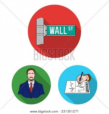 Money And Finance Flat Icons In Set Collection For Design. Business And Success Vector Symbol Stock
