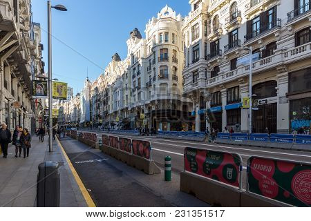 Madrid, Spain - January 21, 2018: Building At Gran Vía Street In City Of Madrid, Spain