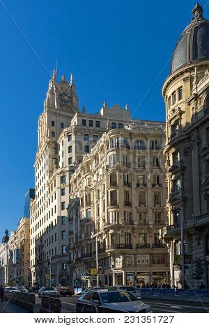 Madrid, Spain - January 21, 2018: Telefonica Building (edificio Telefonica) At Gran Vía Street In Ci