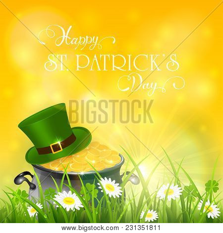 Patricks Day And Green Hat With Gold Of Leprechaun In Grass On Yellow Sunny Background