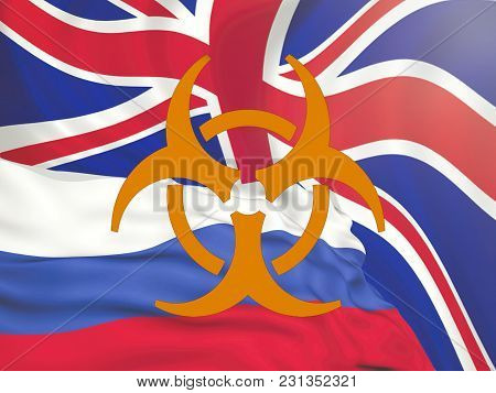 Flag Of The Russian Federation Against The Background Of The English Flag, The Conflict Of Sanctions