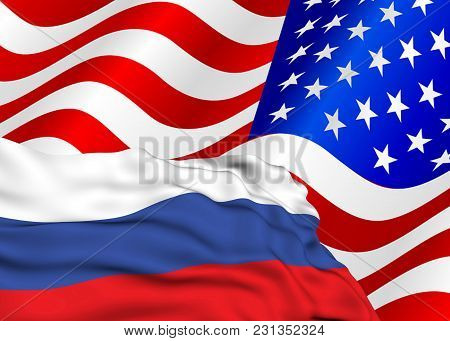 Flag Of The Russian Federation Against The Background Of The Usa Flag, The Conflict Of Sanctions And