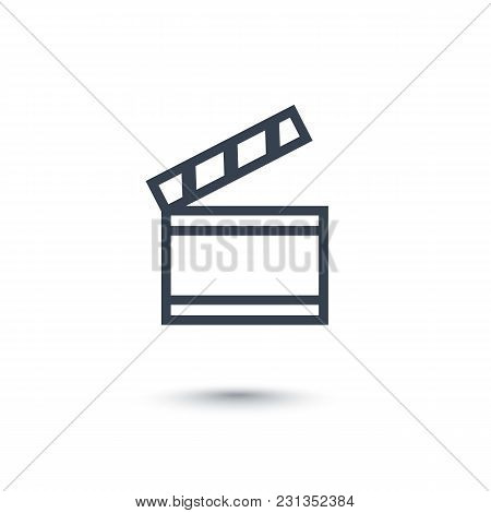 Clapperboard Icon On White, Eps 10 File, Easy To Edit