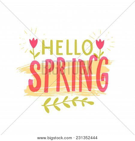 Hello Spring Banner With Hand Drawn Letters, Pink And Green Colors, Decorated With Small Tulip Flowe