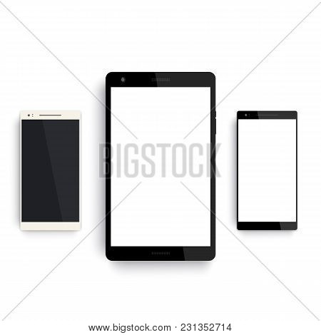 Tablet And Smartphones Mockup On White, Eps 10 File, Easy To Edit