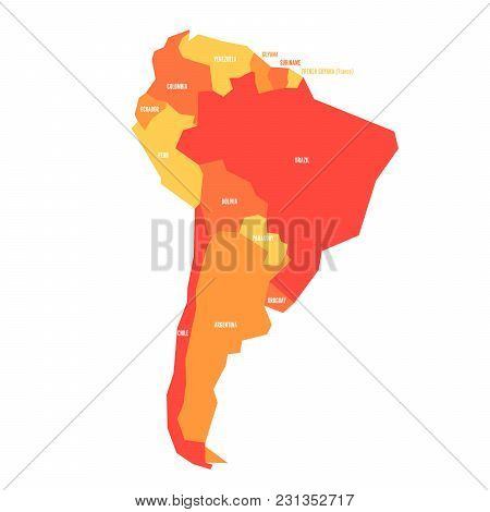 Very Simplified Infographical Political Map Of South America In Orange Colors. Simple Geometric Vect