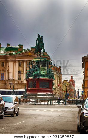 The Monument To Nicholas 1. Russian Emperor. Russia, Saint-petersburg.