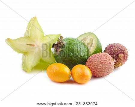 Fresh Exotic Fruits Flat Lay On A White Background. Feijoa Marin Plum Lichee Carambola