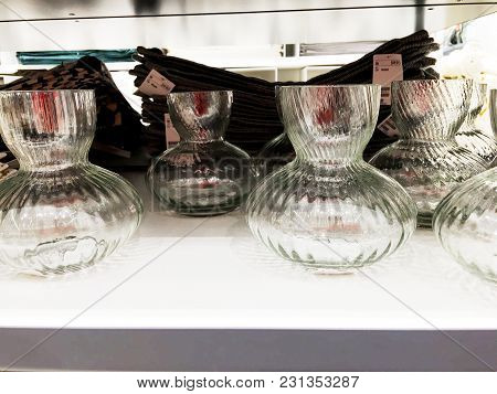 Rishon Le Zion, Israel- December 17, 2017: A Glass Vase For Flowers Is Sold On The Shelves Of The St