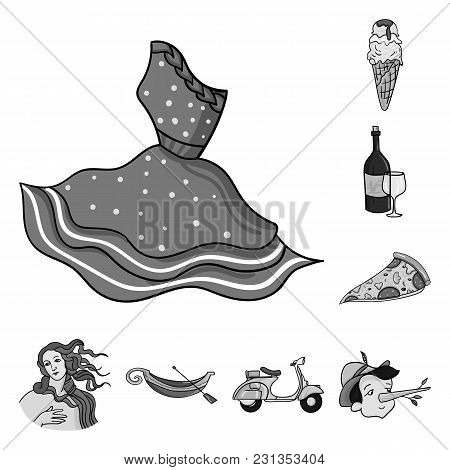 Country Italy Monochrome Icons In Set Collection For Design. Italy And Landmark Vector Symbol Stock