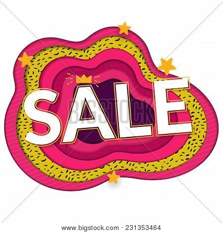 Sale Papercut Banner. Big Word On Bright Paper Background. Pink, White Ang Green Colors