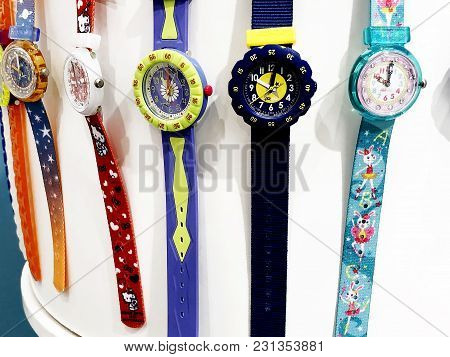 Rishon Le Zion, Israel- December 29, 2017: Watch Clocks Exposed In A Store. Swatch Is A Swiss Watchm