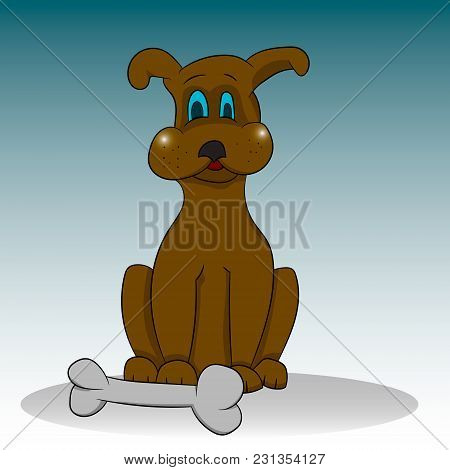 Dog With A Bone. Vector Graphics. Hand Drawing