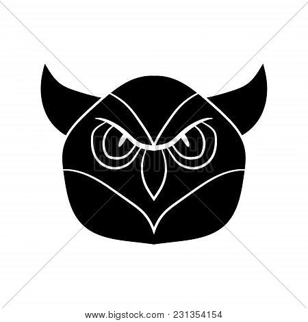 Illustration In The Form Of A Black Silhouette Of An Owl. Vector Graphics. Hand Drawing.