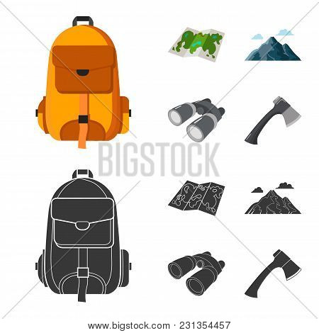 Backpack, Mountains, Map Of The Area, Binoculars. Camping Set Collection Icons In Cartoon, Black Sty