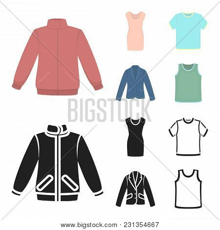 A Mans Jacket, A Tunic, A T-shirt, A Business Suit. Clothes Set Collection Icons In Cartoon, Black S