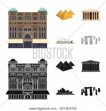 Sights Of Different Countries Cartoon, Black Icons In Set Collection For Design. Famous Building Vec