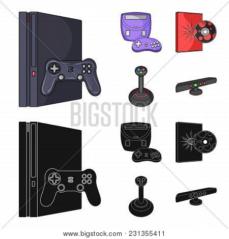 Game Console, Joystick And Disc Cartoon, Black Icons In Set Collection For Design.game Gadgets Vecto