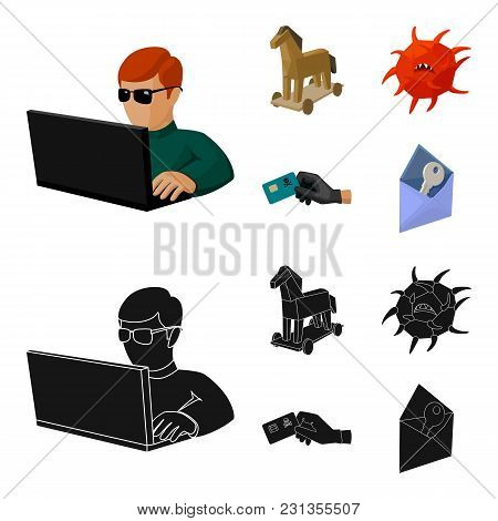 Hacker, Hacking, System, Internet .hackers And Hacking Set Collection Icons In Cartoon, Black Style