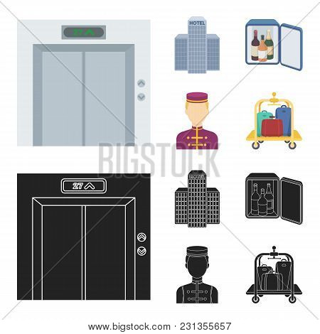 Elevator Car, Mini Bar, Staff, Building.hotel Set Collection Icons In Cartoon, Black Style Vector Sy
