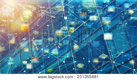 Fast Internet Connection Abstract Technology Background With Sharing Effects
