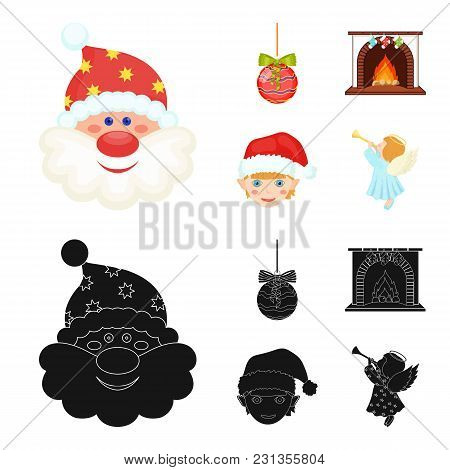 Santa Claus, Dwarf, Fireplace And Decoration Cartoon, Black Icons In Set Collection For Design. Chri