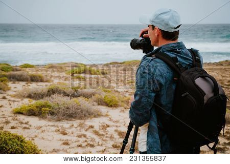 Photographer Takes A Picture Of Ocean Brakers And Waves On Sao Vicente Island Cape Verde.