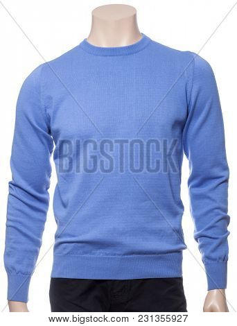 Blue plain longtsleeve cotton jersey on a mannequin isolated on a white background