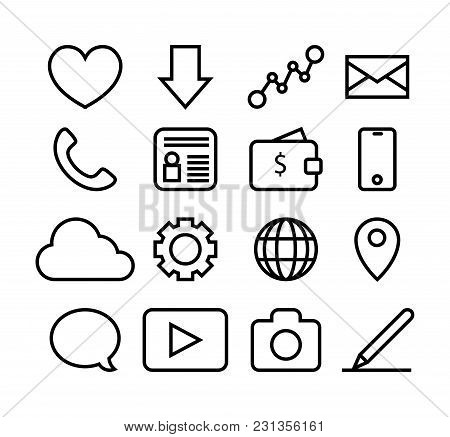 Set Of Icons For Business Site. Vector Illustrations Isolated On White.