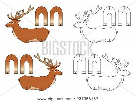 Template Toy Roe Deer Made Of Paper For Children