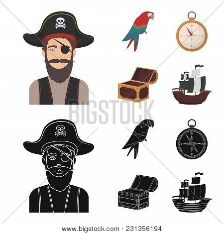 Pirate, Bandit, Hat, Bandage .pirates Set Collection Icons In Cartoon, Black Style Vector Symbol Sto