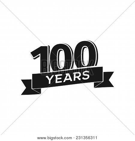 Vector 100 Years Anniversary Logotype. Isolated Black Logo 100th Jubilee On White Background