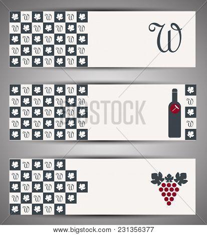 Set Of Web Wine Banners. Vector Illustration