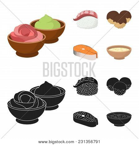 Wasabi Sauce And Ginger, Salmon Steak, Octopus. Sushi Set Collection Icons In Cartoon, Black Style V