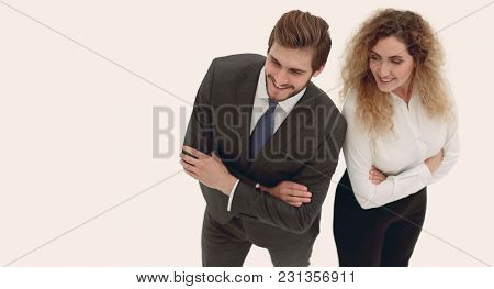 two smiling employee isolated on white