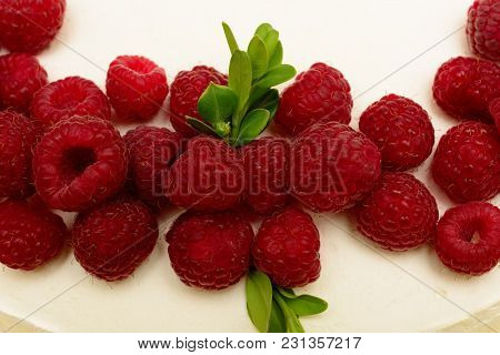 Delicious, Sweet Cake With Red Berries Fresh Ripe Raspberries.