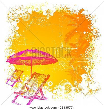 Hand drawn beach chair and umbrella on a tropical grunge background. (Vector version of this work is available in my portfolio: # 50351653)