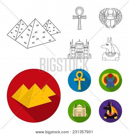Anubis, Ankh, Cairo Citadel, Egyptian Beetle.ancient Egypt Set Collection Icons In Outline, Flat Sty