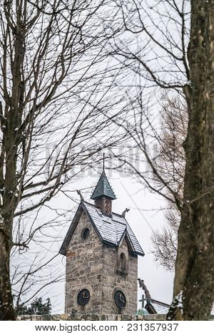 The Tower Of The Medieval Wang Temple In Karpacz, Poland, Photographed In Winter. It Is A Norwegian