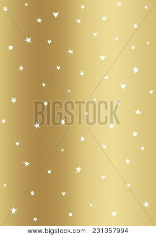 Golden Background With White Dots, Stars And Hearts. Vector.